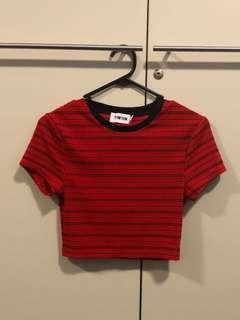 Red & Black Striped Crop Top