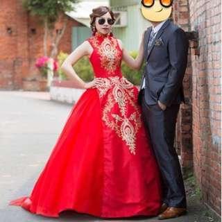 中國風大紅色婚紗