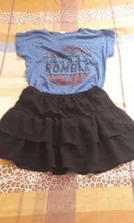 Rocker style shirt and skirt pair