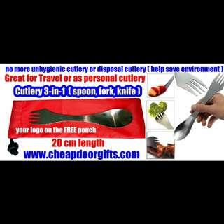Travel stainless steel cutlery