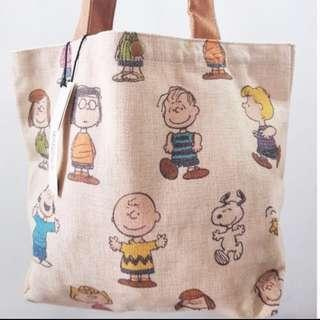 3452457d51 Brand New Japan Hemp Snoopy Woodstock Peanuts Family Bag