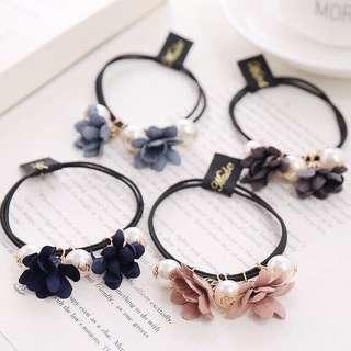 🚚 氣質花朵珍珠髮圈