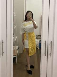 White yellow polka set