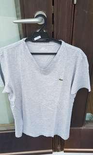 Lacoste grey t shirt cotton medium 4 men