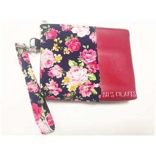 Floral leather wrist pouch