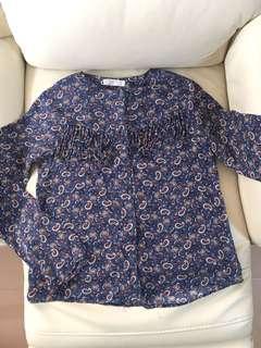 Zara vintage style printed navy colour shirt