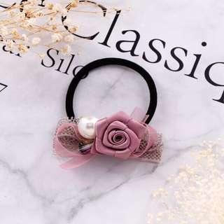 🚚 緞帶玫瑰珍珠髮圈