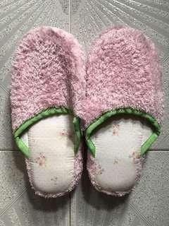 粉紅花花厚底拖鞋