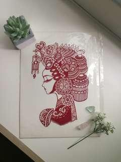 Ethnic chinese Paper craft artwork A3 sized