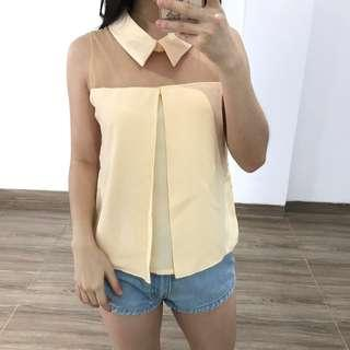 Cream collar top