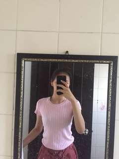 Ribbed pink tight top