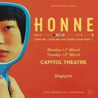 Honne SG 12 March Cat 1 (x2)