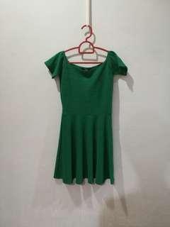 MDS Emerald green off shoulder dress