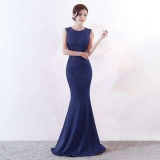 🅱️Floral Embroidery Pearl Mesh Mermaid Sleeveless Tea-Ceremony / Evening / Wedding Long Dress - Navy [BO256]