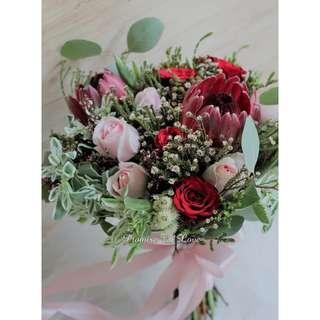 Rustic Fresh Protea  hand bouquet.