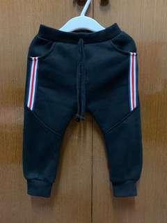 🚚 (二手)刷毛棉褲/黑色/90公分