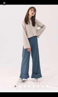 Meire.q超美超仙霧藍/灰藍反折寬褲