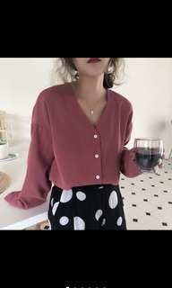 歐膩梅紅仙女v領襯衫