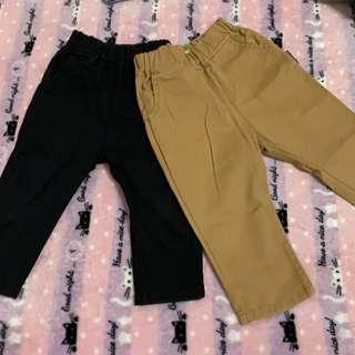 🚚 (二手)素色長褲/兩件合售/尺碼約90公分