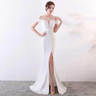🅱️Rhinestone Tassel V-Neck Off-Shoulder Mermaid Sleeveless Tea-Ceremony / Evening / Wedding Long Dress - White [BO258]