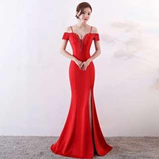 🅱️Rhinestone Tassel V-Neck Off-Shoulder Mermaid Sleeveless Tea-Ceremony / Evening / Wedding Long Dress - Red [BO259]