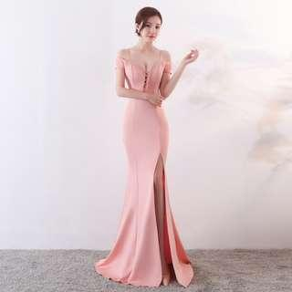 🅱️Rhinestone Tassel V-Neck Off-Shoulder Mermaid Sleeveless Tea-Ceremony / Evening / Wedding Long Dress - Pink [BO260]