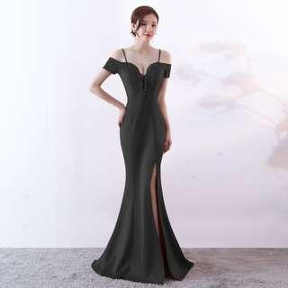 🅱️Rhinestone Tassel V-Neck Off-Shoulder Mermaid Sleeveless Tea-Ceremony / Evening / Wedding Long Dress - Black [BO261]