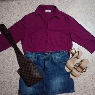 3/4 Sleeves Purple Top