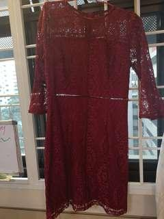 Wine Red lace office dress