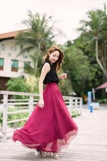Megagamie Alba silk dip hem maxi skirt in Rose