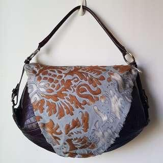 BERGE Italy Dark Brown Gray Lazered Calf Hair Croc Leather Hobo Bag
