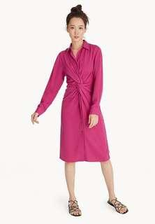 Pomelo Fashion Front Knot Shirt Dress in Pink