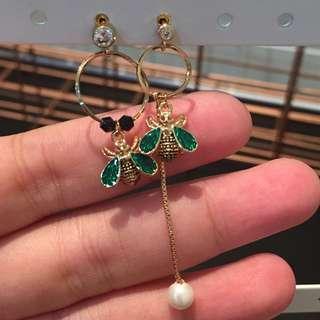 345 - Green Bug Earrings
