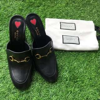 Gucci Black Leather Gold Tone Horsebit Princetown Leather Mules Heels Size 38