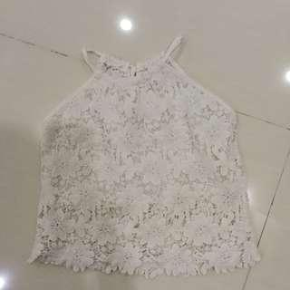 Halter flora White Lace Top