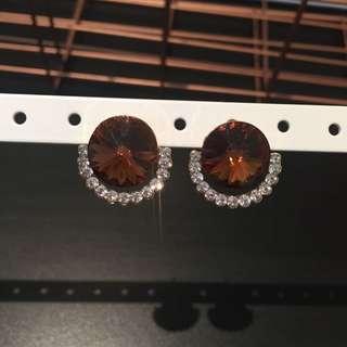 348 - Brown Jewel Earrings