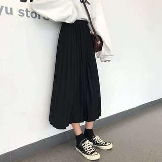 韓國貨黑色百褶長裙