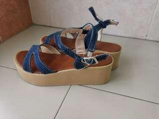 Xquisis new ladies navy strapped sandals/platform