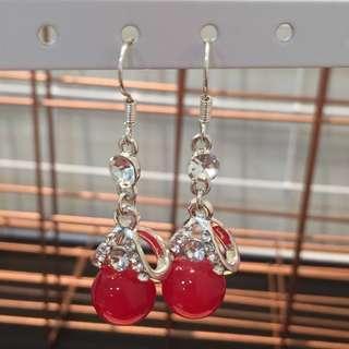 357 - Red Glassball Hanging Earrings