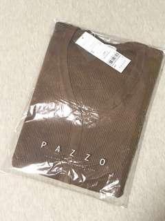 🚚 Pazzo袖開衩排扣針織上衣S咖啡色