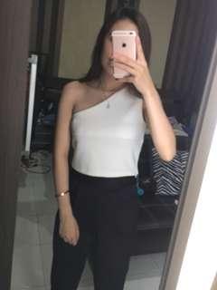 One Shoulder White Crop Top