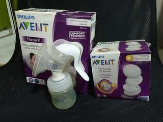 🚚 Philips Avent Comfort Natural Manual Breast Pump with free 30pcs disposable breast pads