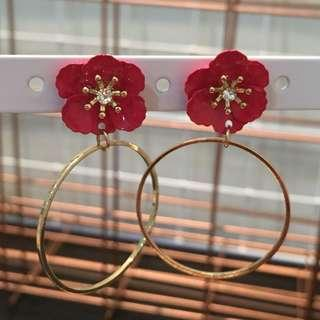 372 - Red Flower Earrings