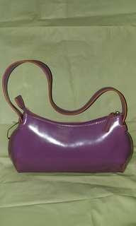 DKNY Purple leather shoulder bag 紫色 手挽 上膊 袋
