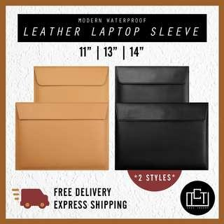 🚚 🔅cT🔅PU LEATHER Laptop casing laptop sleeve for all laptop brands bag macbook VERTICAL HORIZONTAL BLACK BROWN CREAM 3 SIZES