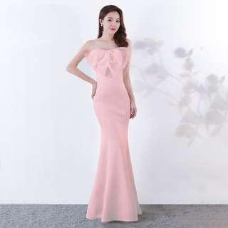 🅱️Classic Fluffy Bow Mermaid Sleeveless Tea-Ceremony / Evening / Wedding Long Dress - Pink [BO266]