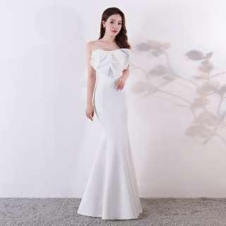 🅱️Classic Fluffy Bow Mermaid Sleeveless Tea-Ceremony / Evening / Wedding Long Dress - White [BO267]