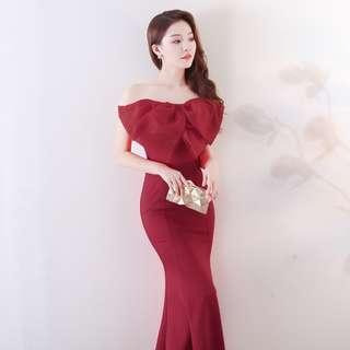 🅱️Classic Fluffy Bow Mermaid Sleeveless Tea-Ceremony / Evening / Wedding Long Dress - Purple Red [BO268]