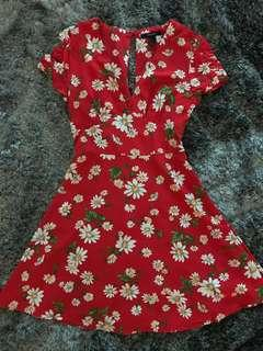 [brand new] forever 21 Red Floral Dress