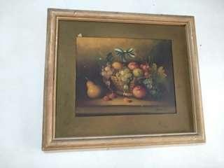 Lukisan buah ukuran 30 x 35 cm